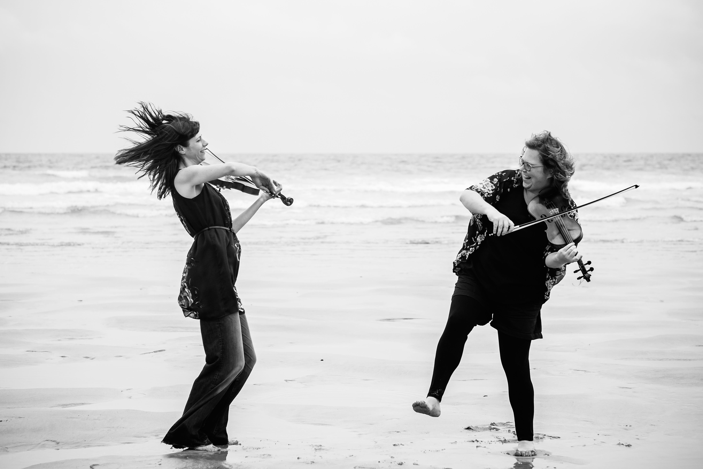 Salt and Sky Cornish fiddle duo - photo by Jonny Giddens